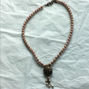 Pink faux pearl necklace